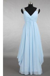 Discount Sleeveless Floor Length Beading Zipper with Light Blue