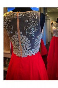 Hot Selling Scoop Red Zipper Prom Gown Beading Sleeveless Floor Length