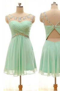 Lovely Apple Green Prom Dresses Prom and Party and For with Beading Bateau Sleeveless Zipper