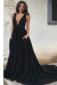 Flare Black Backless V-neck Ruching Formal Dresses Chiffon Sleeveless Court Train