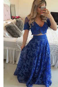 Sweep Train A-line Prom Gown Royal Blue V-neck Chiffon Short Sleeves Zipper
