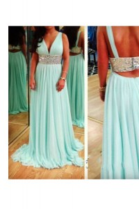 Suitable Sleeveless Backless Floor Length Beading Prom Evening Gown