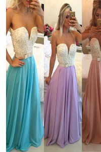 Excellent Blue Chiffon Clasp Handle Sweetheart Sleeveless Floor Length Evening Gowns Beading