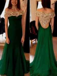 Off the Shoulder Side Zipper Oscars Dresses Dark Green for Prom and Party with Beading and Pleated Sweep Train
