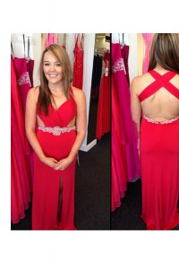 Red Criss Cross Juniors Evening Dress Beading Sleeveless Floor Length