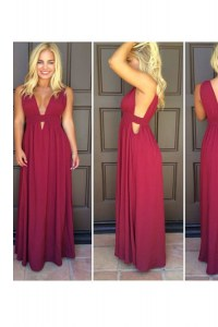 V-neck Sleeveless Evening Dress Floor Length Ruching Burgundy Elastic Woven Satin