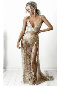 Champagne Sleeveless Lace Brush Train Backless Homecoming Dress for Prom