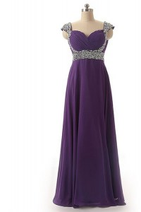 Beading and Ruching Pageant Gowns Purple Lace Up Cap Sleeves Floor Length