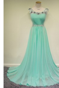 Turquoise Scoop Zipper Beading Prom Evening Gown Brush Train Sleeveless