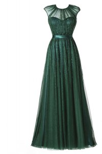 Scoop Cap Sleeves Tulle Floor Length Zipper in Dark Green with Beading and Pleated