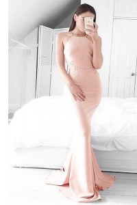 Shining Mermaid Pink Square Zipper Lace Dress for Prom Sweep Train Sleeveless