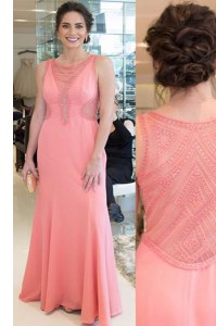 Best Scoop Floor Length Mermaid Sleeveless Watermelon Red Prom Evening Gown Zipper