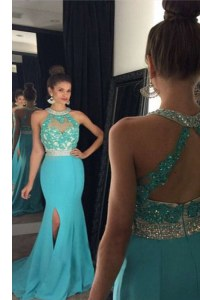 Halter Top Sleeveless Brush Train Beading and Appliques Zipper Evening Dress