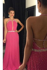Scoop Beading Dress for Prom Hot Pink Backless Sleeveless Sweep Train