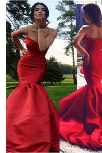 Comfortable Mermaid Elastic Woven Satin Sleeveless Homecoming Dress Sweep Train and Pleated