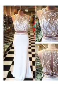 Chiffon Scoop Sleeveless Zipper Beading and Appliques Prom Party Dress in White