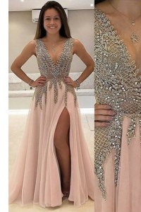 Low Price V-neck Sleeveless Brush Train Backless Evening Dress Champagne Tulle