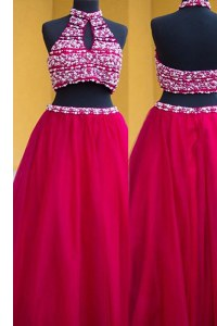 Charming Halter Top Fuchsia Sleeveless Beading Floor Length Prom Party Dress