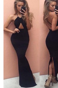 Admirable Mermaid Floor Length Black Evening Wear Halter Top Sleeveless Backless
