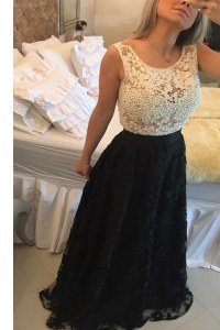 Suitable Scoop Floor Length Side Zipper Prom Gown White And Black for Prom and Party with Beading and Lace