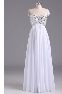 Smart White Column/Sheath Chiffon Sweetheart Sleeveless Beading and Ruching Floor Length Lace Up Prom Party Dress