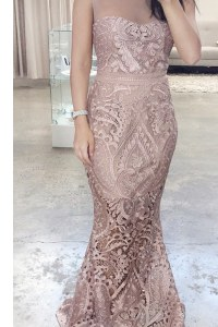 Scoop Lace Floor Length Mermaid Sleeveless Pink Prom Evening Gown Zipper