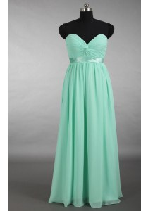 Great Apple Green Sleeveless Chiffon Zipper Prom Evening Gown for Prom and Party and Wedding Party