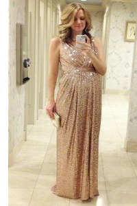 Suitable Pink A-line Pleated Custom Made Pageant Dress Lace Up Sequined Sleeveless Floor Length