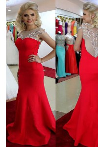 Amazing Mermaid Scoop Floor Length Side Zipper Dress for Prom Red for Prom and Party with Beading