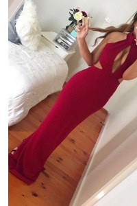 Eye-catching Mermaid Elastic Woven Satin High-neck Sleeveless Zipper Ruching Dress for Prom in Wine Red