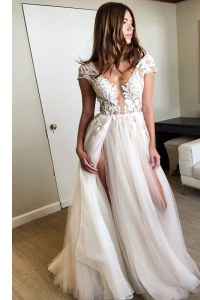 White Cap Sleeves Floor Length Lace Lace Up Homecoming Dress