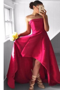 Luxurious Fuchsia Sleeveless Pleated Asymmetrical Red Carpet Prom Dress
