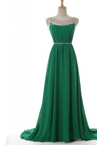 Green Elastic Woven Satin Side Zipper Scoop Sleeveless With Train Dress for Prom Sweep Train Belt