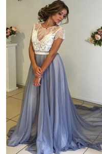 Deluxe Scoop Backless Homecoming Dress Grey for Prom and Party with Lace and Bowknot Court Train