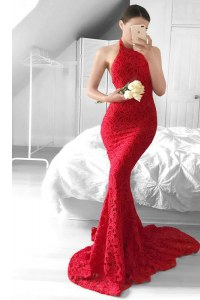 Artistic Sweep Train Mermaid Red Halter Top Lace Sleeveless Backless