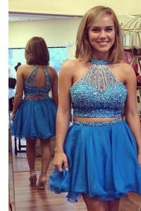 Excellent Halter Top Sleeveless Organza Knee Length Zipper Homecoming Dress in Blue with Beading