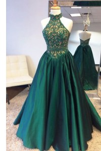 Halter Top Teal Sleeveless Sweep Train Beading and Lace Evening Dress