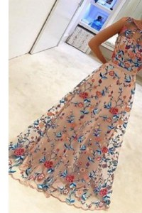 Custom Made Scoop Multi-color Sleeveless Floor Length Hand Made Flower Zipper Prom Party Dress