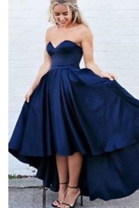 Pleated Evening Dress Navy Blue Zipper Sleeveless High Low