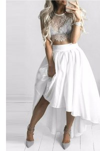 Excellent Scoop White Cap Sleeves Chiffon Lace Up Prom Evening Gown for Prom