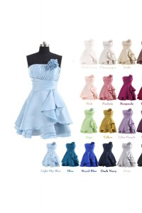 Lavender Strapless Neckline Pleated and Hand Made Flower Dress for Prom Sleeveless Lace Up