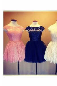 Dazzling Baby Pink A-line Lace Scoop Cap Sleeves Embroidery Knee Length Backless Cocktail Dress