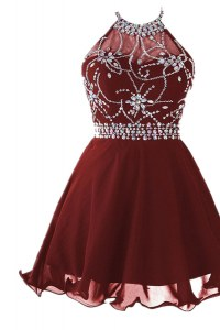 Stunning Burgundy A-line Beading Prom Dress Backless Chiffon Sleeveless Knee Length