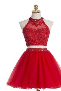 Halter Top Beading Cocktail Dresses Red Zipper Sleeveless Knee Length
