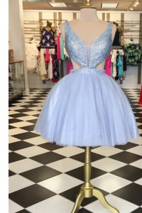 Lavender A-line Sweetheart Sleeveless Tulle Knee Length Zipper Beading Cocktail Dress