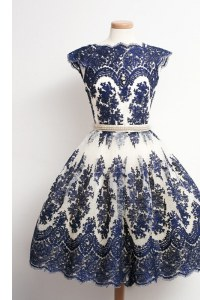Latest Scalloped Navy Blue Cap Sleeves Appliques Knee Length Prom Gown