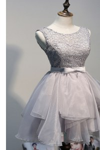 Grey Prom Evening Gown Prom and Party and For with Beading Scoop Sleeveless Lace Up
