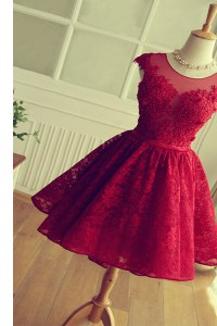 Scoop Satin and Lace Cap Sleeves Knee Length Dress for Prom and Appliques