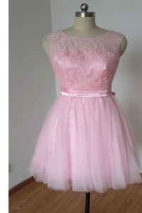 Latest Scoop Knee Length Backless Prom Party Dress Pink for Prom and Party with Lace and Bowknot