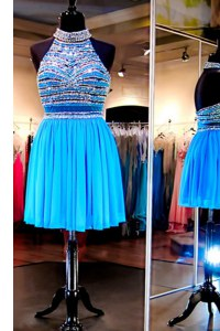 Shining Halter Top Baby Blue Backless Evening Dress Beading Sleeveless Knee Length